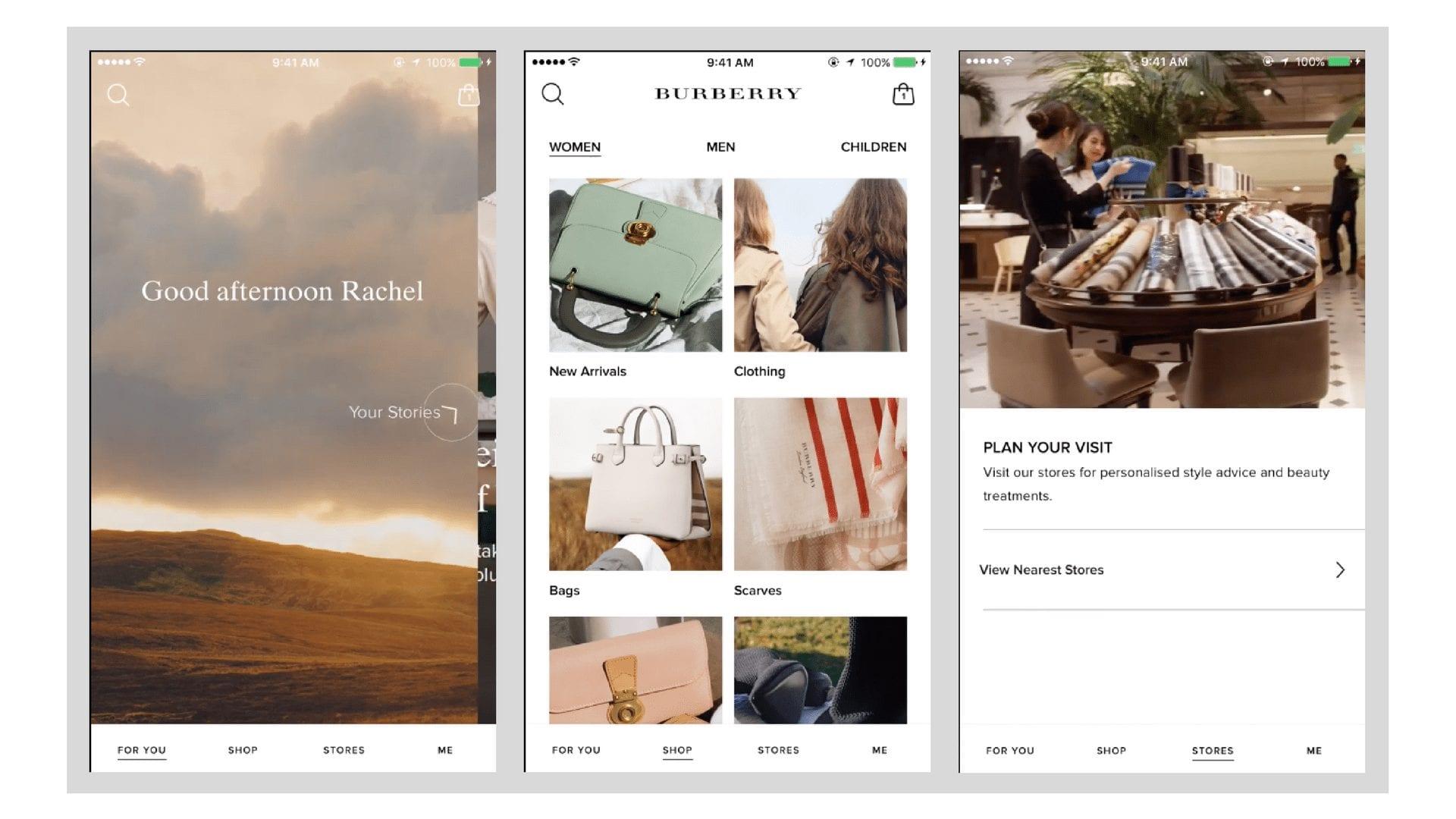 burberry mobile app screenshots