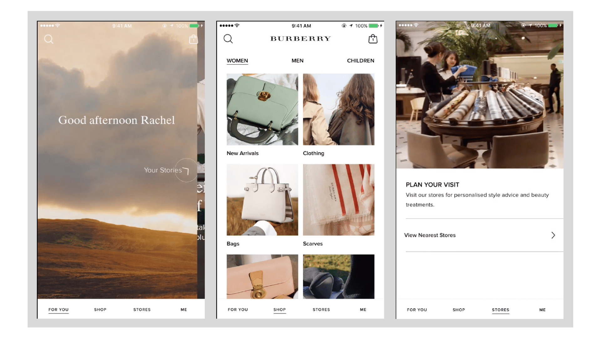burberry mobile app screenshots