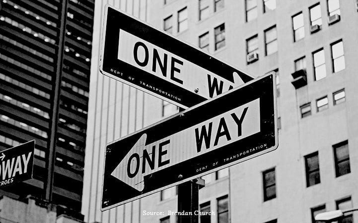 one way street signs with credit