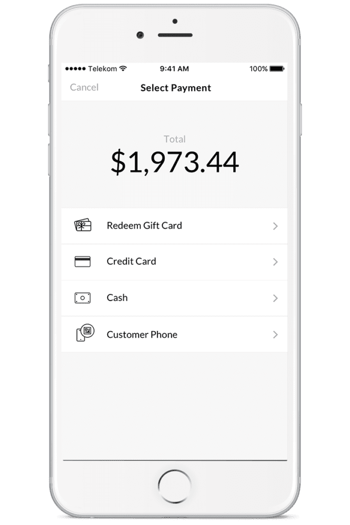 mode of payment options within the app
