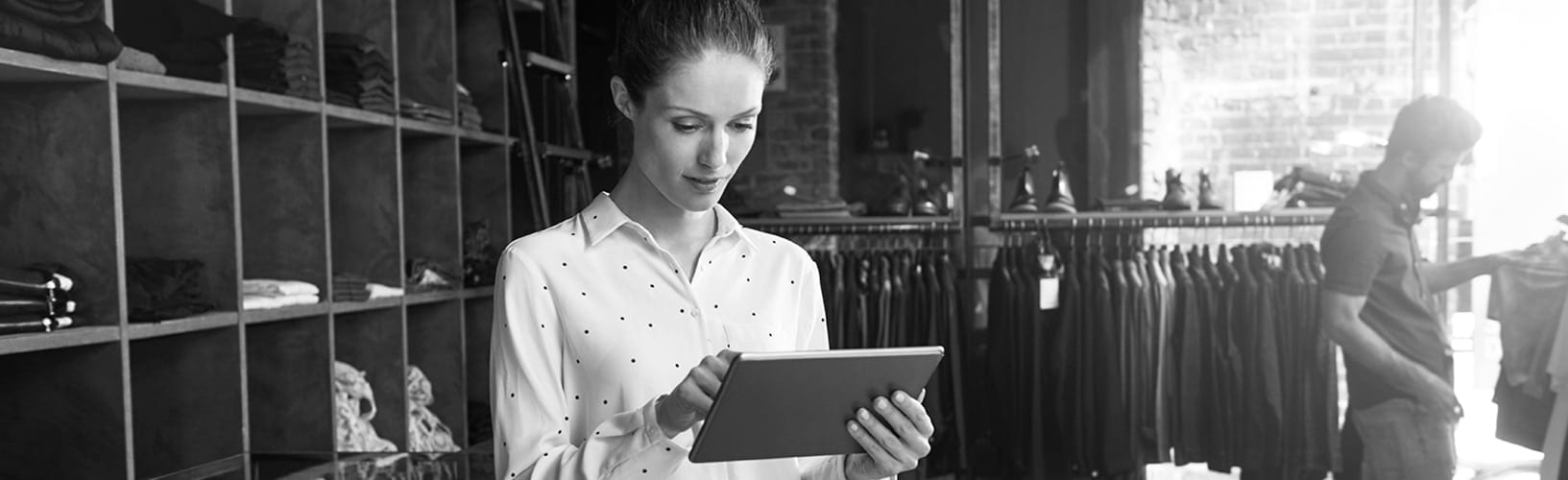 store associate with tablet