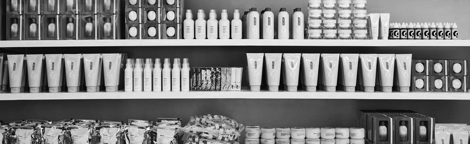 glossier products on shelf