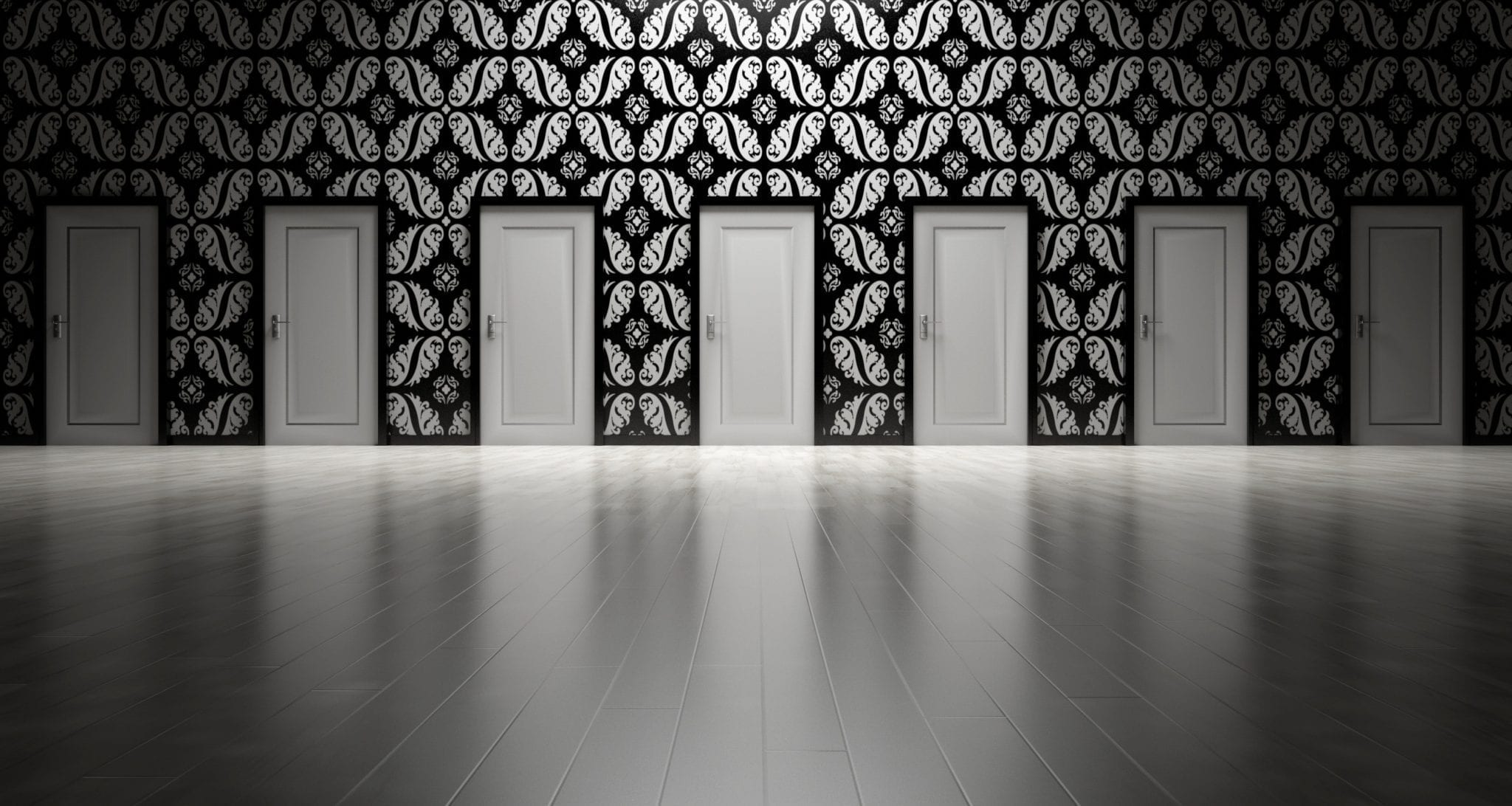 doors lined up arcitecture image black and white