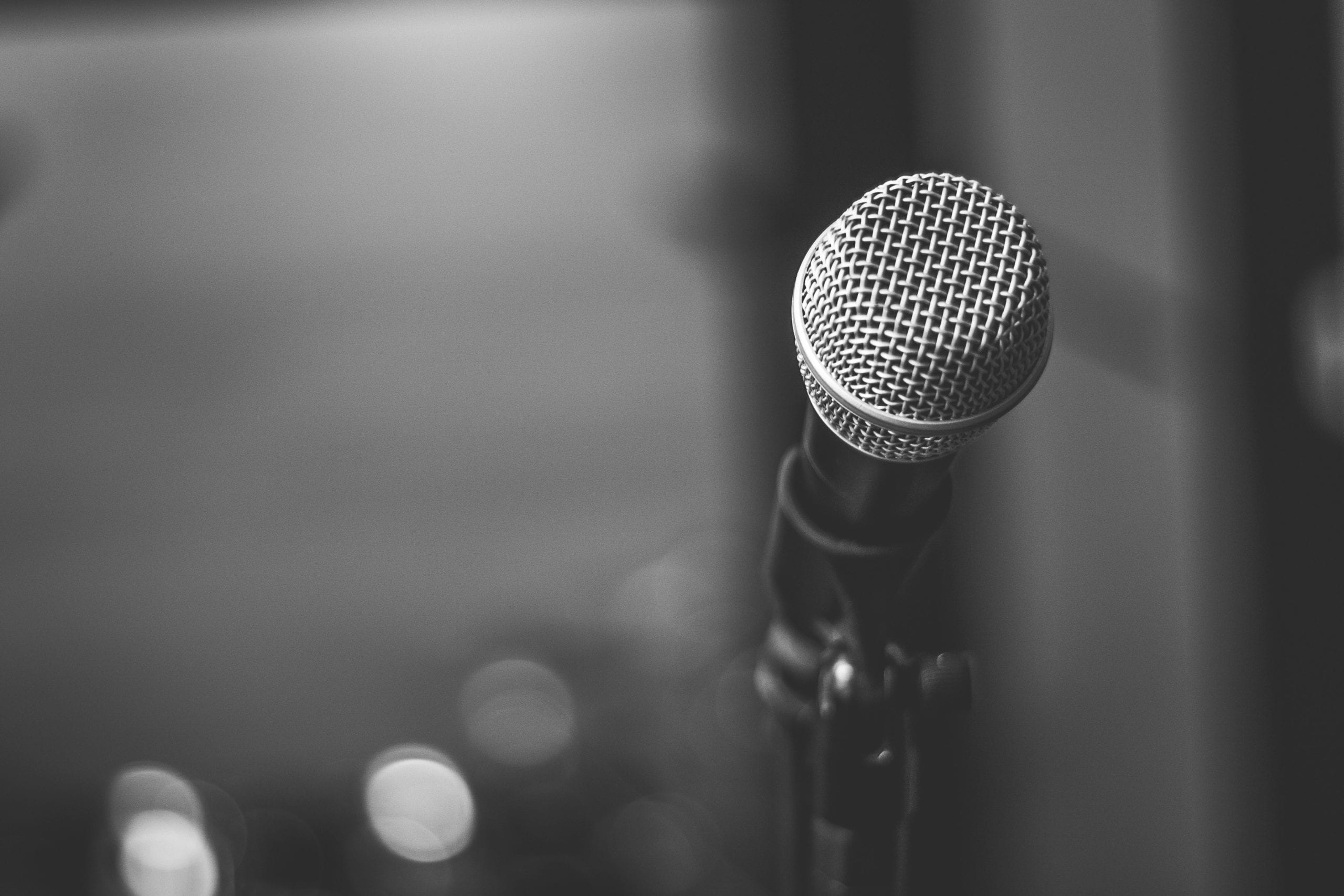 mic stand in black and white