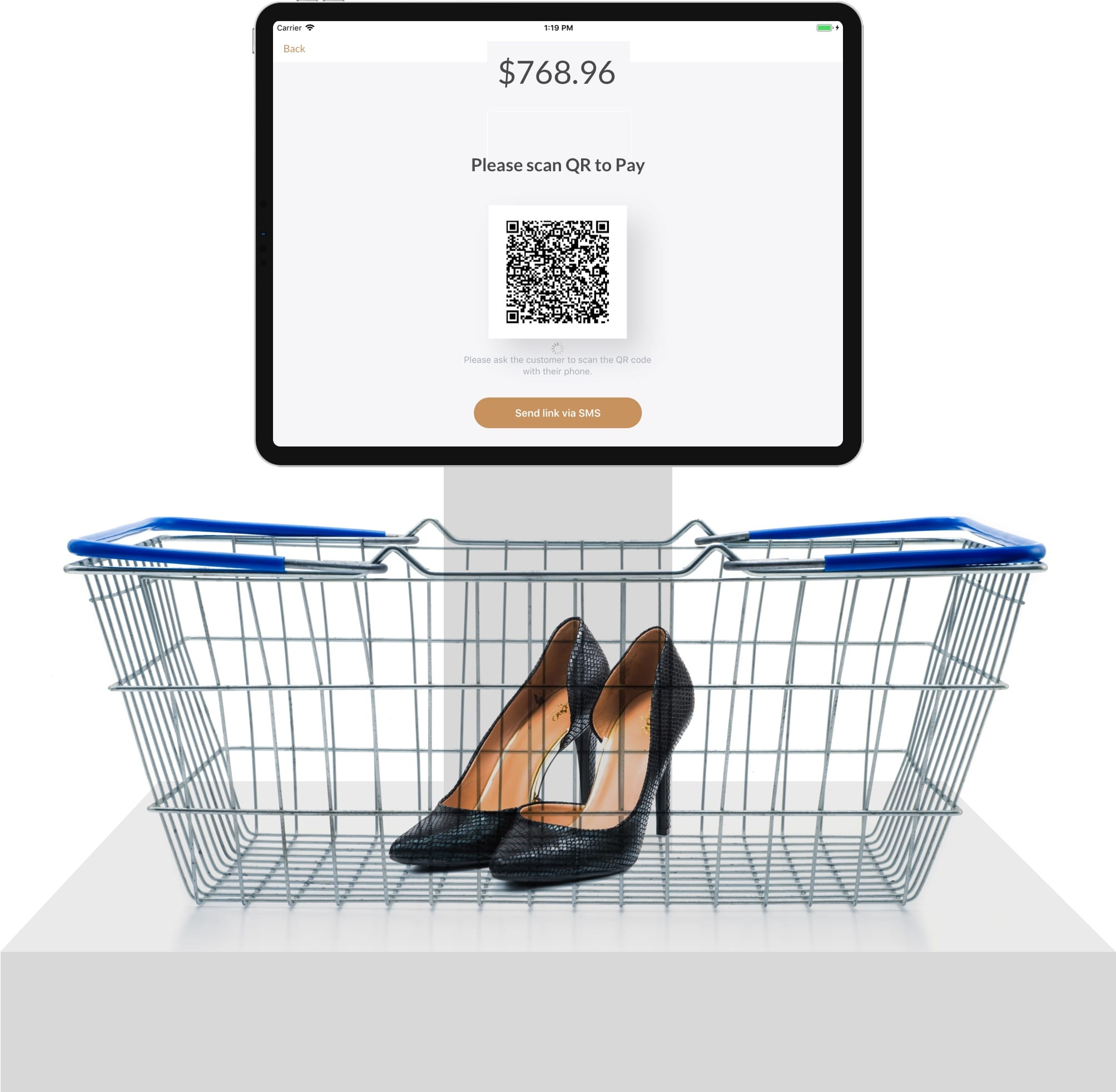 shoes on payment terminal with qr code