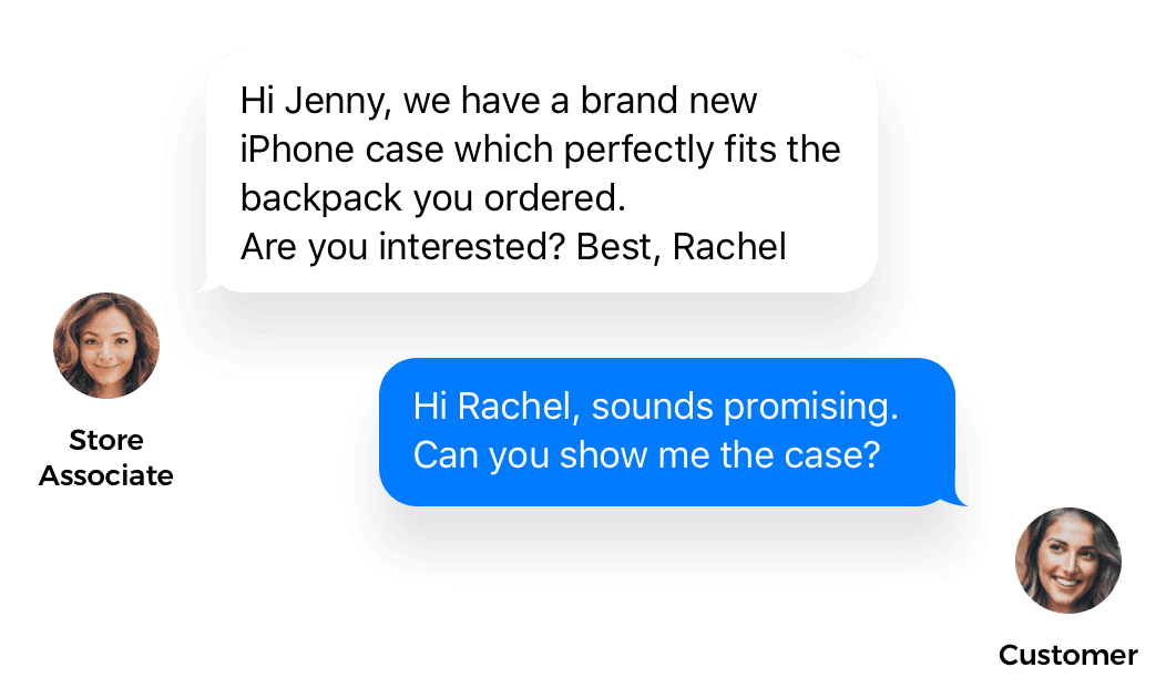 store associate and customer mobile chat