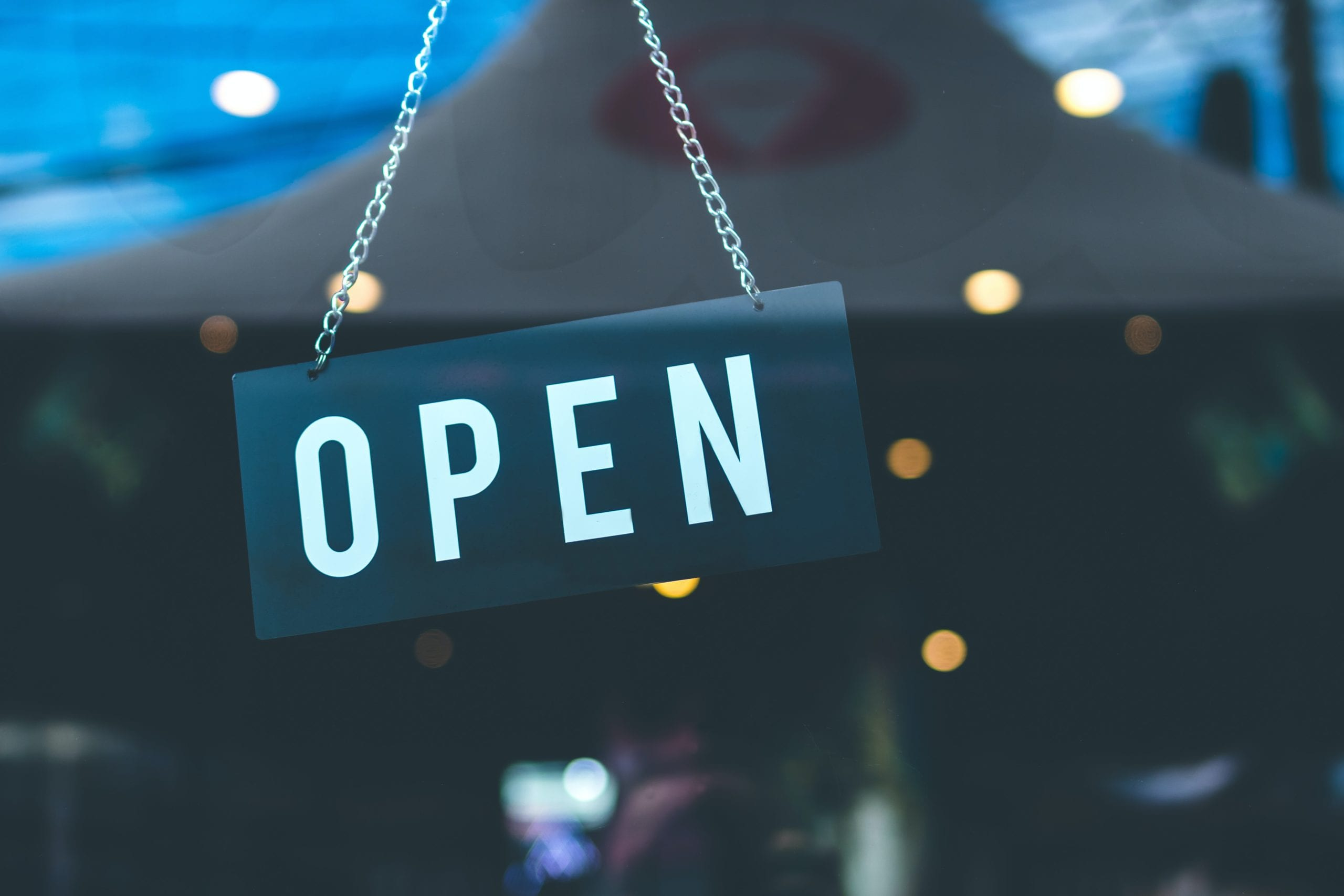 Open sign on retail store